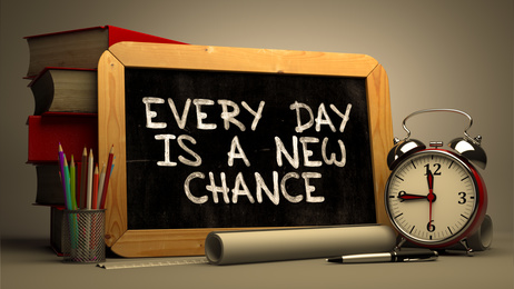 Every Day is a New Chance. Inspirational Quote.